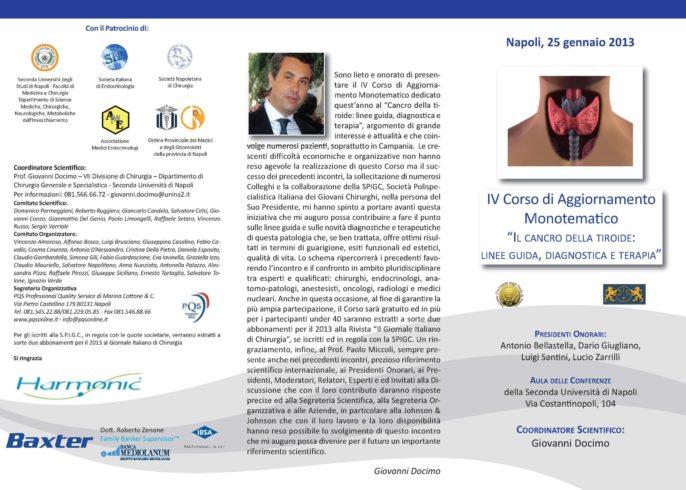 """IV Corso di Aggiornamento Monotematico """" Il Cancro della Tiroide: Linee Guida, Diagnostica e Terapia """""""